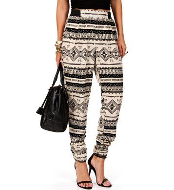 Ivory/Black Tribal Print Harem Pants