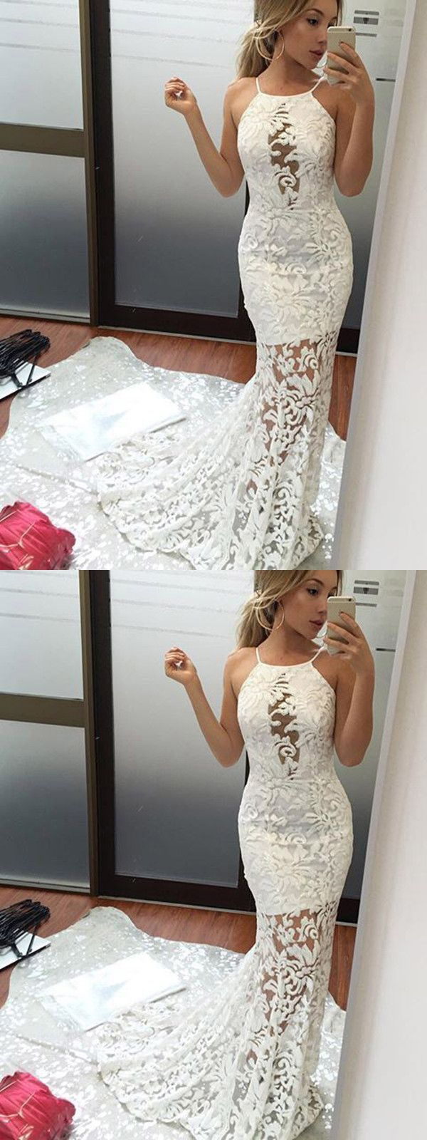 Chic mermaid prom dress lace unique red prom dress vb prom
