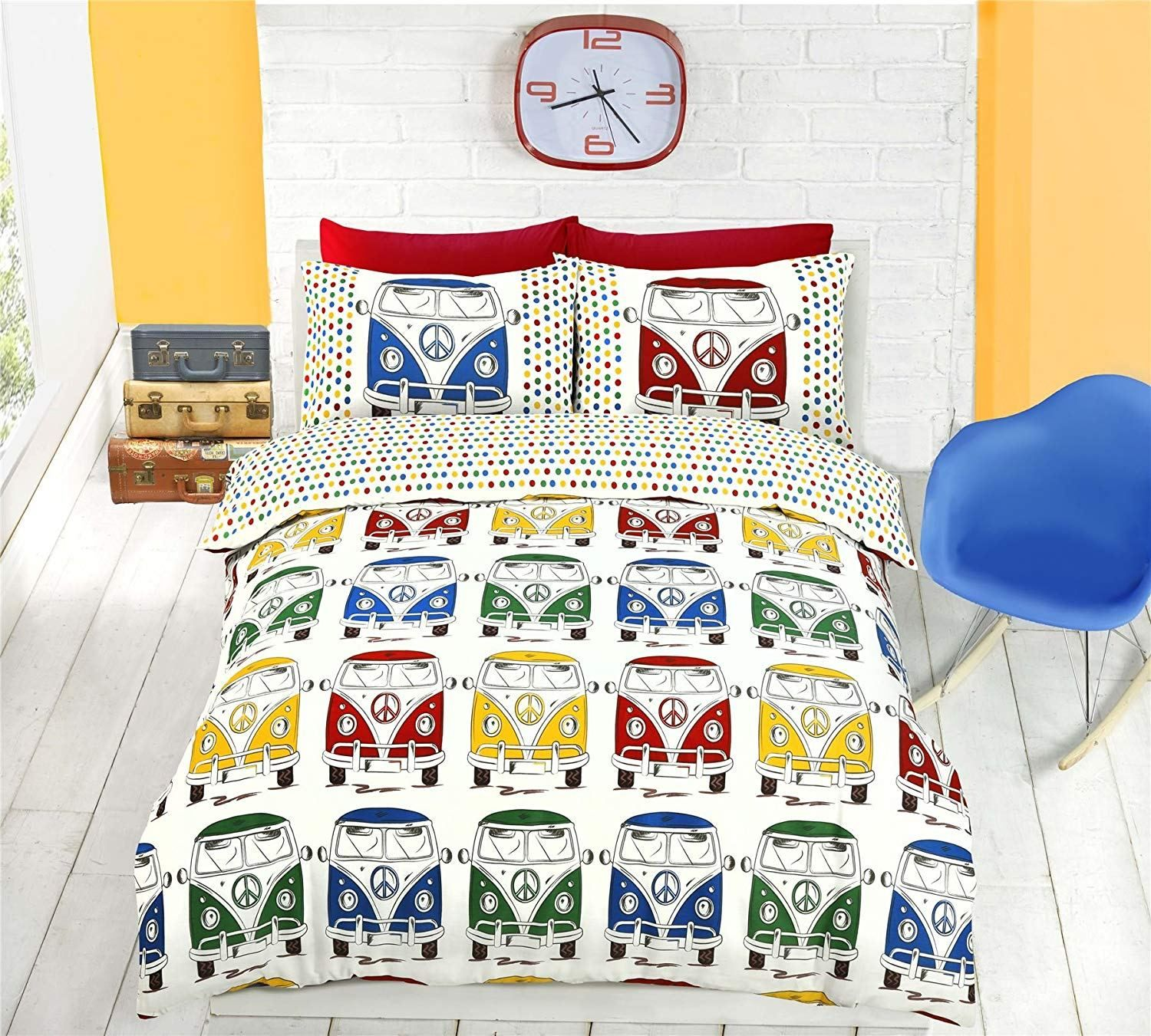 Queen Vw Camper Van Retro Duvet Cover & Pillowcases For