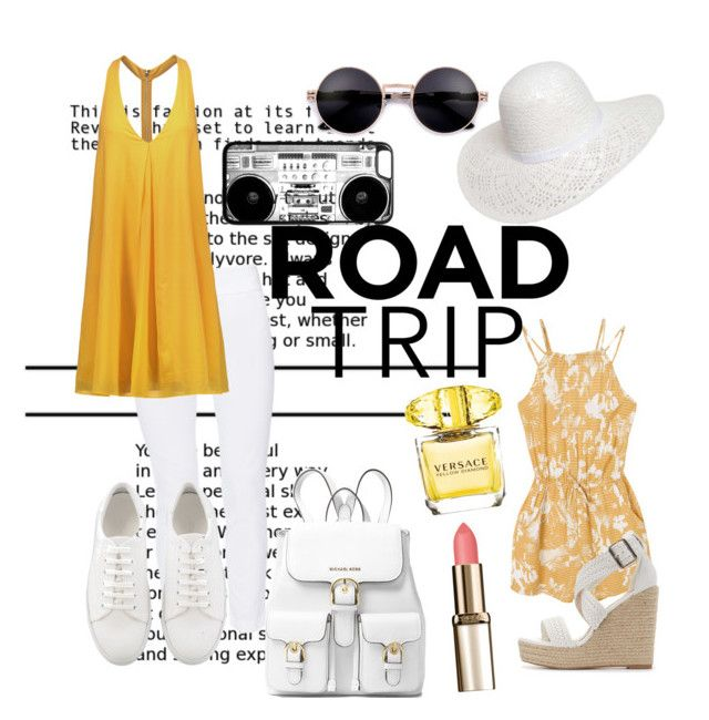 """""""Road trip"""" by wilt-and-scatter on Polyvore featuring RVCA, Dorothy Perkins, MICHAEL Michael Kors, ELLIOTT LAUREN, Versace, Alice + Olivia and Charlotte Russe"""