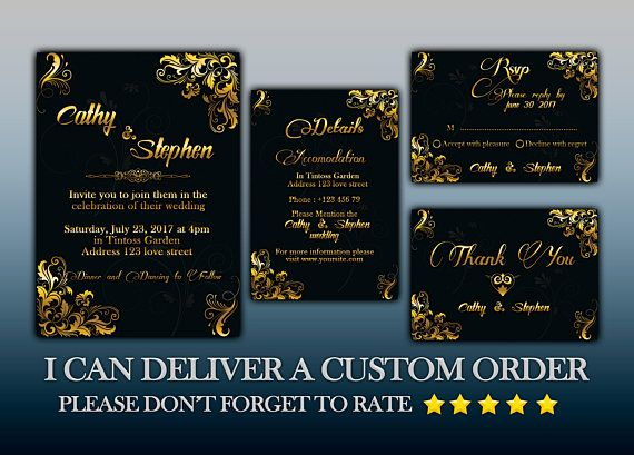 Golden Wedding Invitation Flyer rsvp details thank you PHOTOSHOP - Invitation Flyer Template