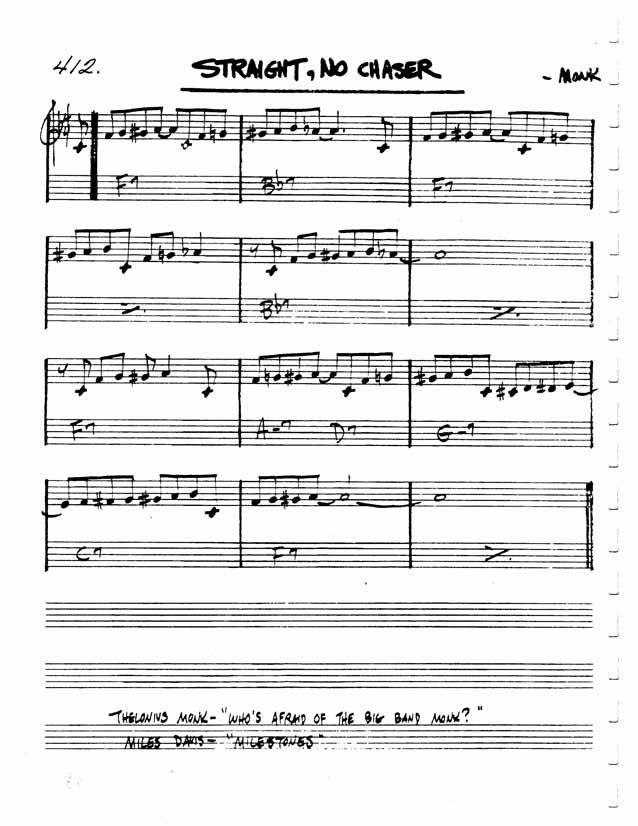 Jazz Standard Realbook chart STRAIGHT, NO CHASER 25 Jazz Standards