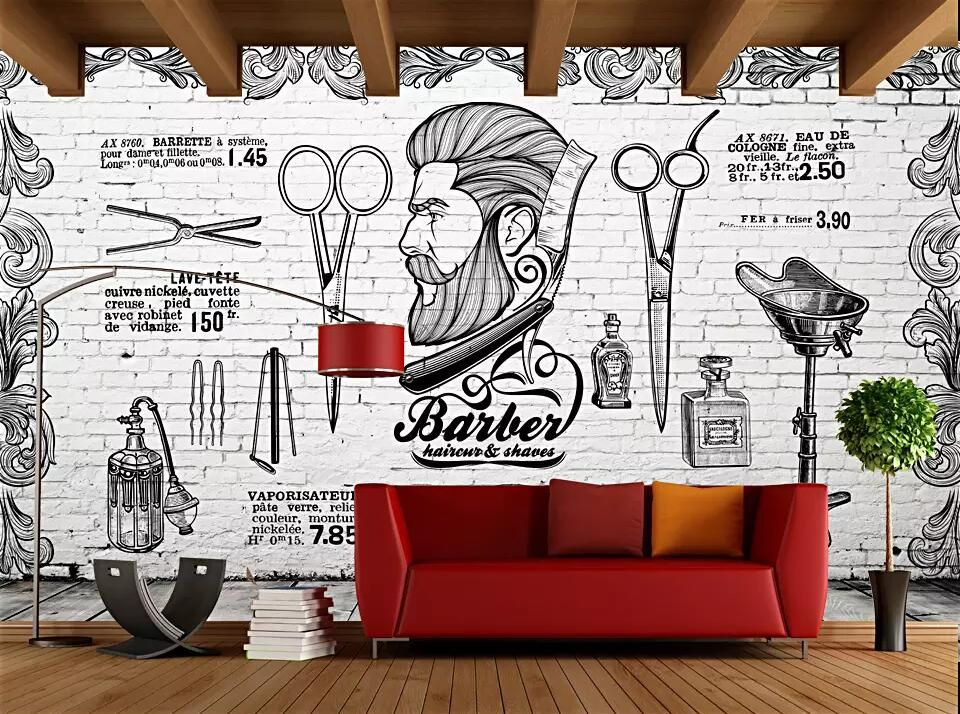 Beibehang Mural Wallpaper Europe And The United Kingdom British Retro Trend Barber Shop Background White Brick Wall 3d Mural Wallpaper Barber Shop Wall Murals