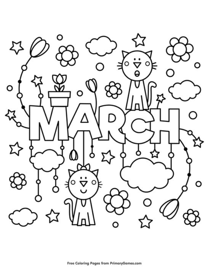 March Coloring Page Coloring Fun Detailed Coloring Pages Spring Coloring Pages Coloring Pages