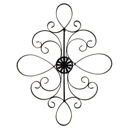 Black Metal Wall Decor With A Scrollwork Motif Product Wall