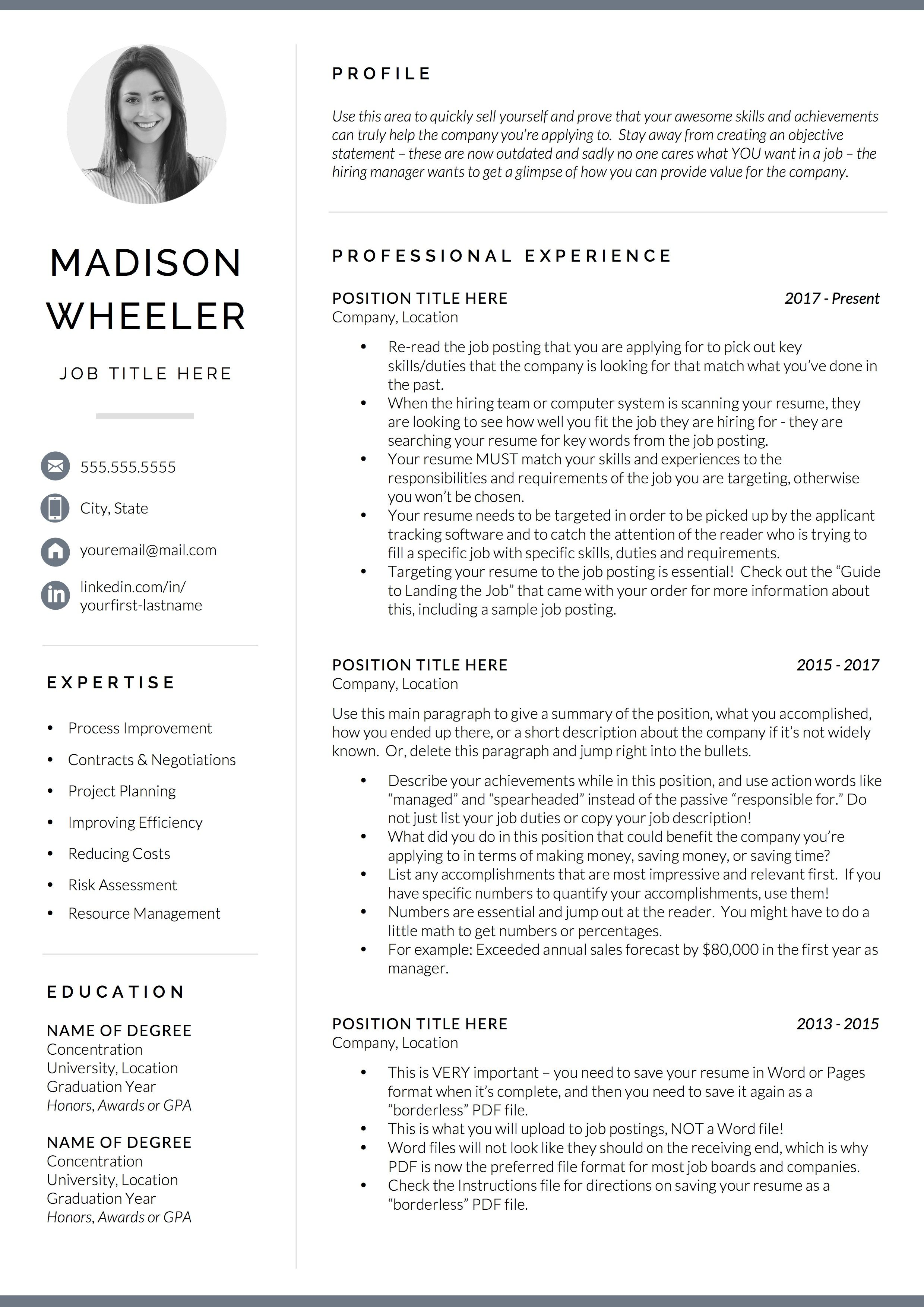 One Page Resume with Photo / CV Template with photo