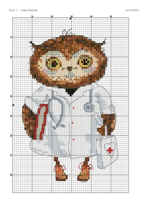 Схема для вышивки крестом доктор 695