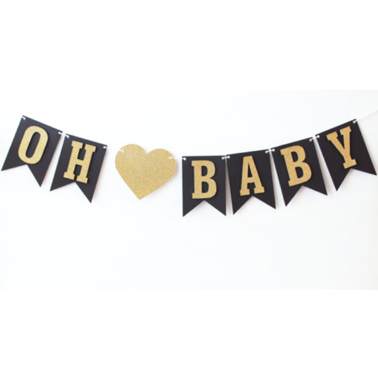 Baby Shower Banner Oh Baby Banner Black And Gold Glitter Black Gold Baby Shower Gold Baby Shower Boy Baby Shower Banner