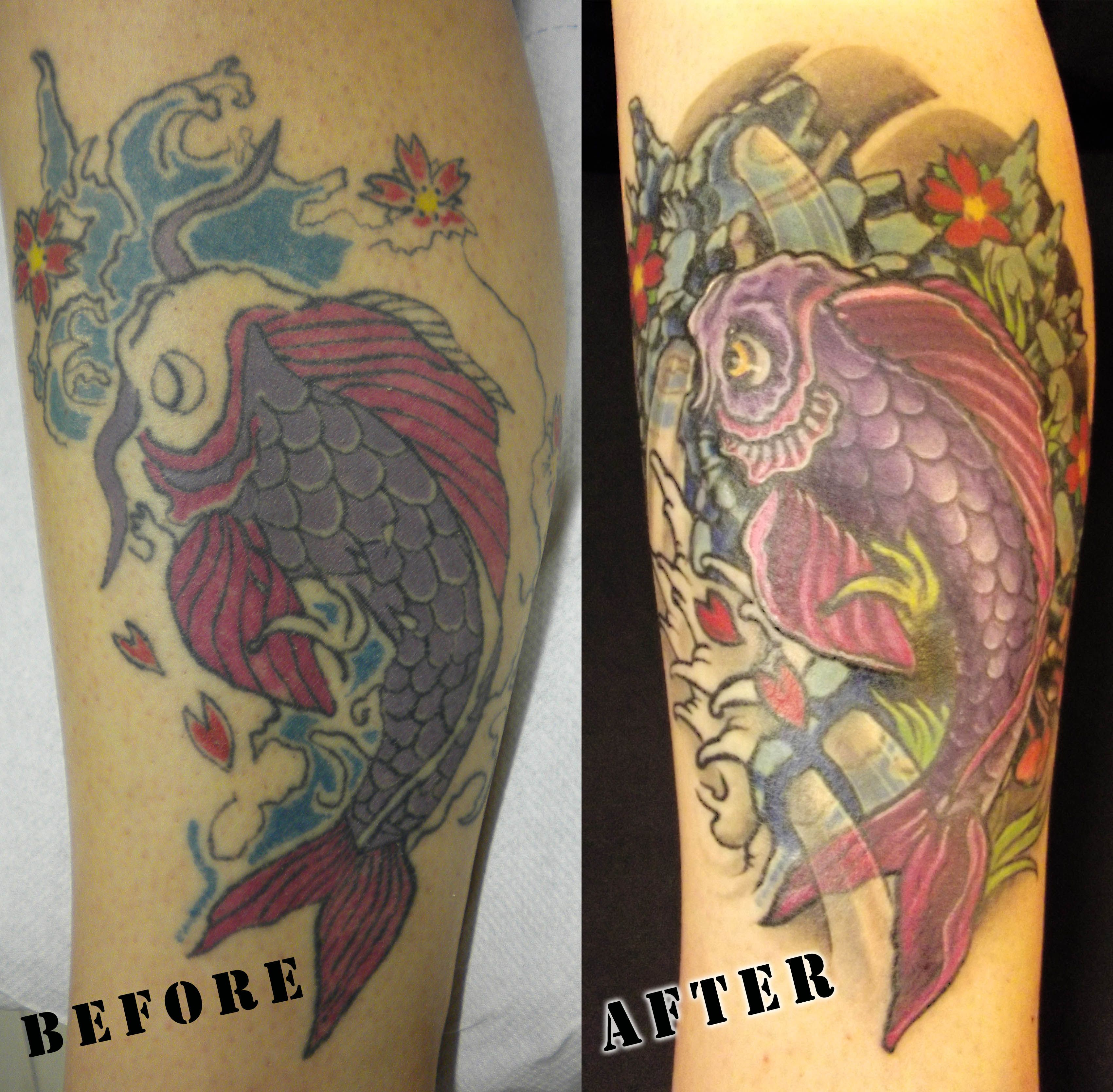 Www Ettore Bechis Com Best Miami Tattoo Shop Koi Fish Cover Up