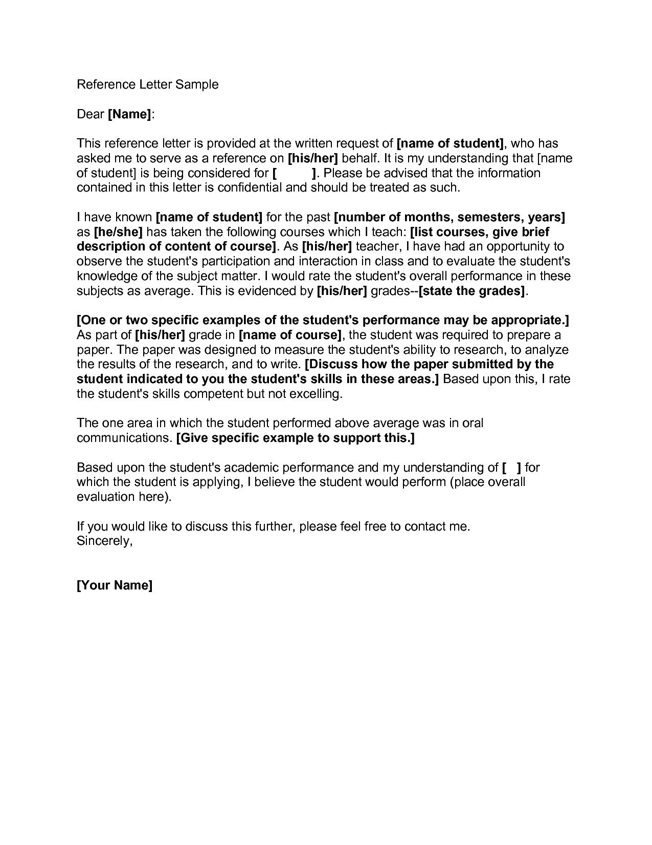 Reference Letter SamplesExamples of Reference Letters Request ...