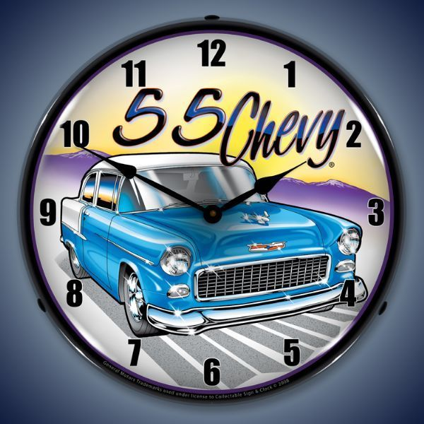 1955 Chevy Led Lighted Wall Clock 14 X 14 Inches 1955 Chevy Classic Trucks Chevy