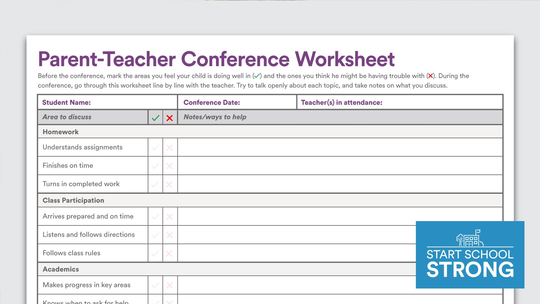 Download Parent Teacher Conference Worksheet