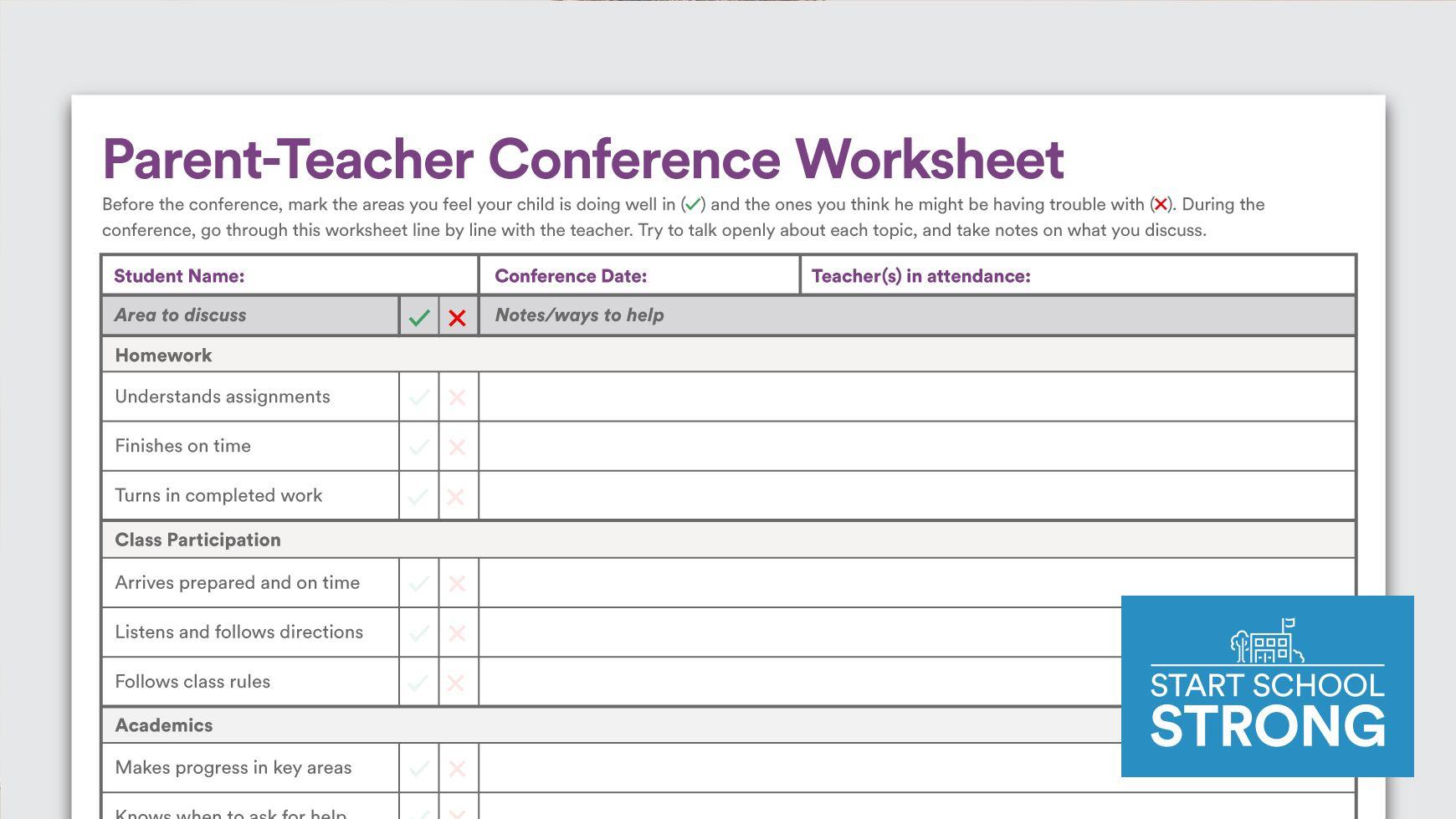 Download Parent Teacher Conference Worksheet