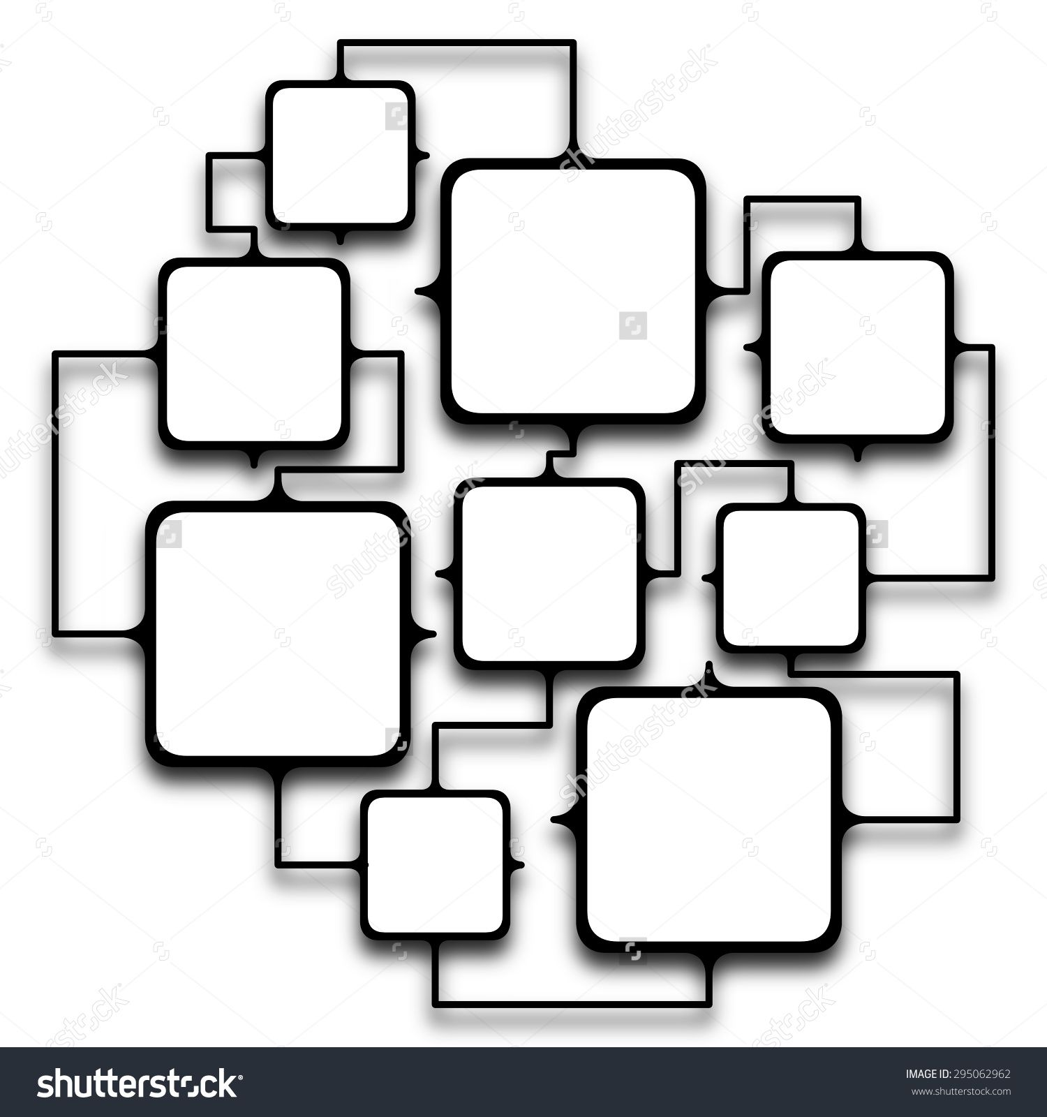 Multiple squared frames linked together on white background