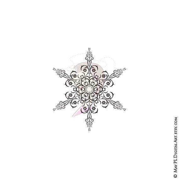 Vintage Snowflake Flourishes Holiday Snow Crystal ...