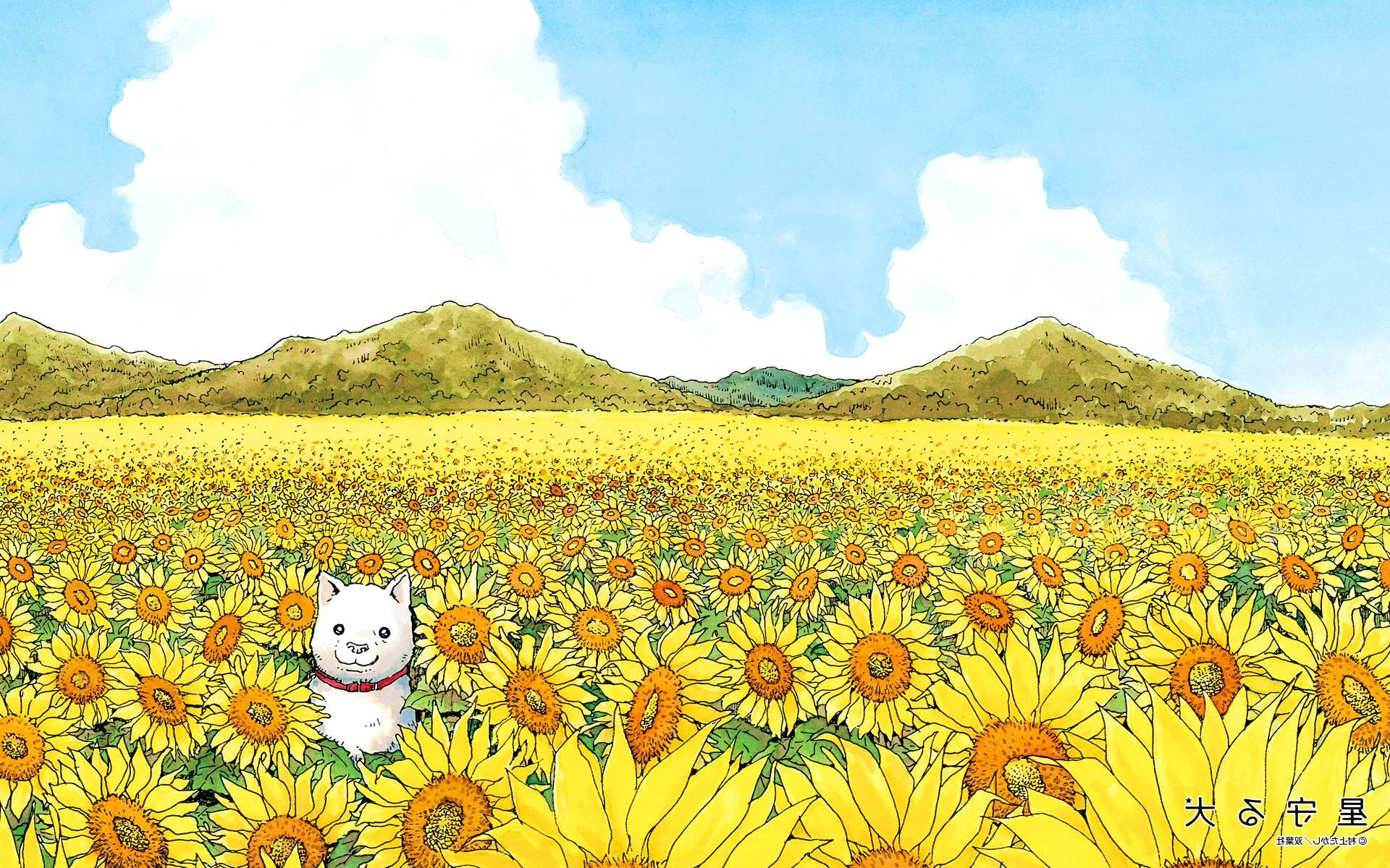 A dog in a field of flowers one of the less abstract but