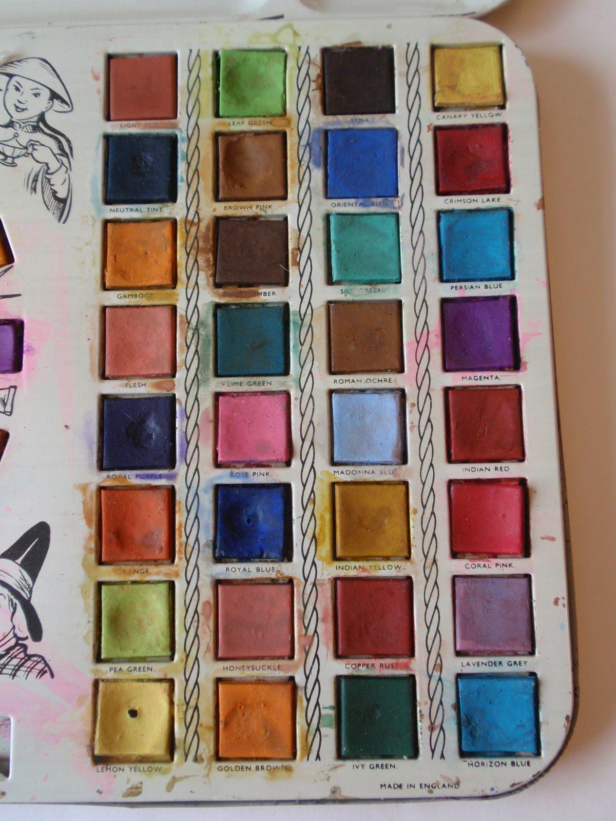 Details About Vintage Tin Litho Supreme Paint Box Watercolor New