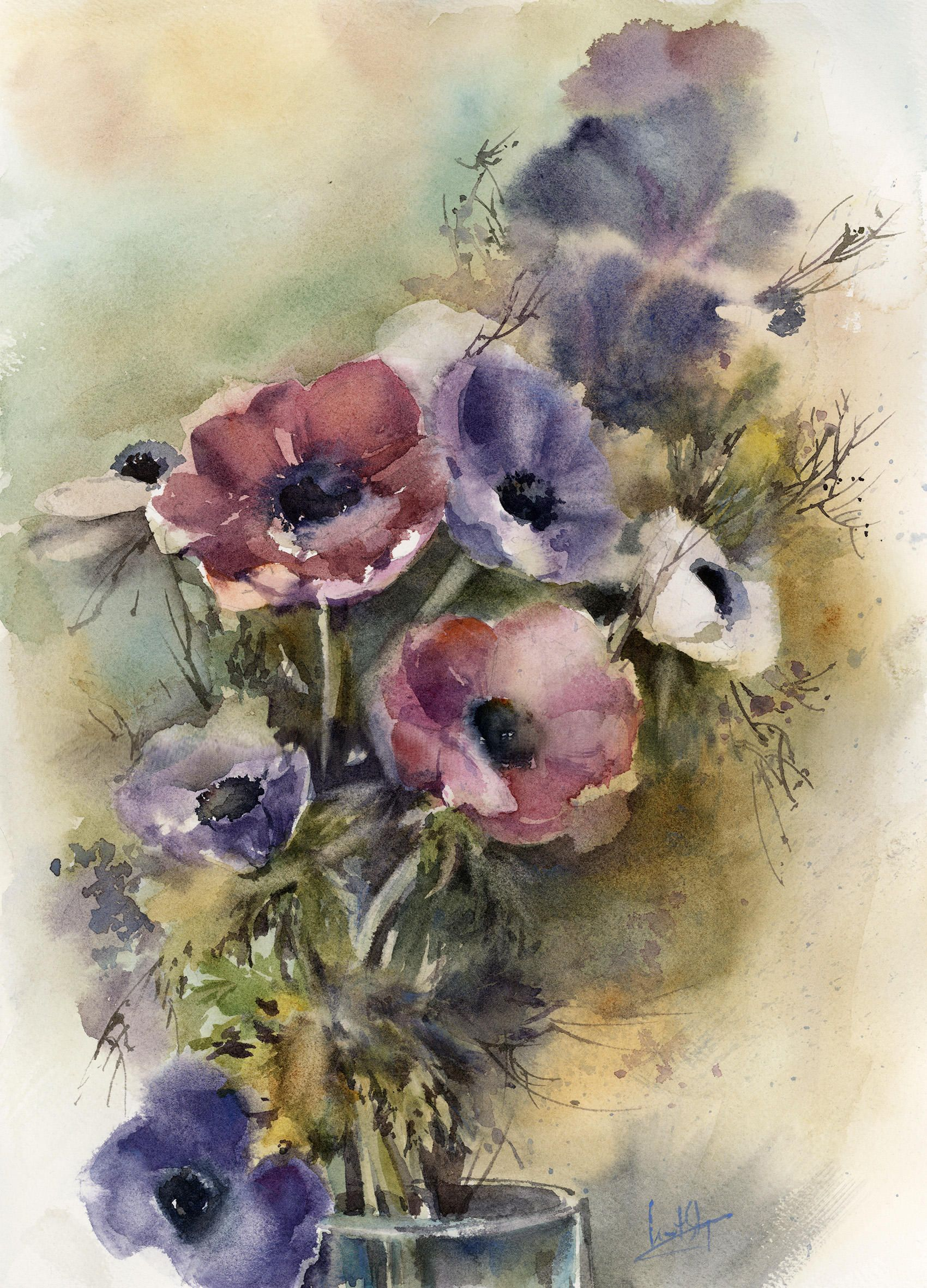 Anemone Flowers Original Watercolor Painting Pink And Blue Anemones Bouquet Watercolour Flora In 2020 Watercolor Flowers Paintings Botanical Painting Floral Painting