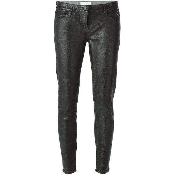 Faith Connexion Bleached Used Slim Jeans (1,555 CAD) ❤ liked on Polyvore featuring jeans, black, black slim jeans, black skinny jeans, bleached jeans, skinny leg jeans and slim cut jeans