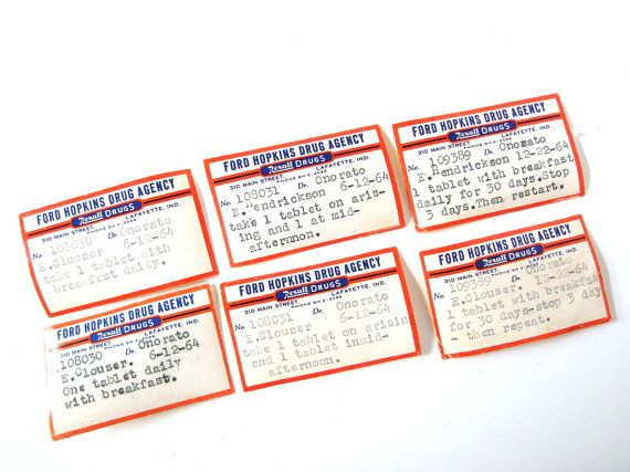 Seven vintage prescription labels from 1964 featuring an orange and blue logo and individually typed details. Issued by Dr. Onorato in Lafayette, IN