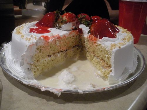 My favorite postre ever. Tres Leches cake with strawberries. Yum!