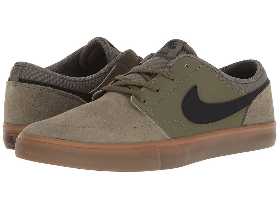 9fd6463a003ab5 Nike SB Portmore II Solar - Suede (Medium Olive Black Medium Olive) Men s Skate  Shoes
