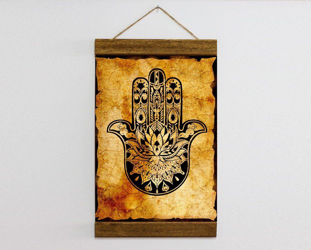 Hamsa Hand Ancient Kabbalah Evil Eye Protection Charm Talisman Wood Framed Canvas Print Judaism Talmud Torah Beliefs The Book Of Zohar Framed Canvas Prints Canvas Frame Hamsa Hand