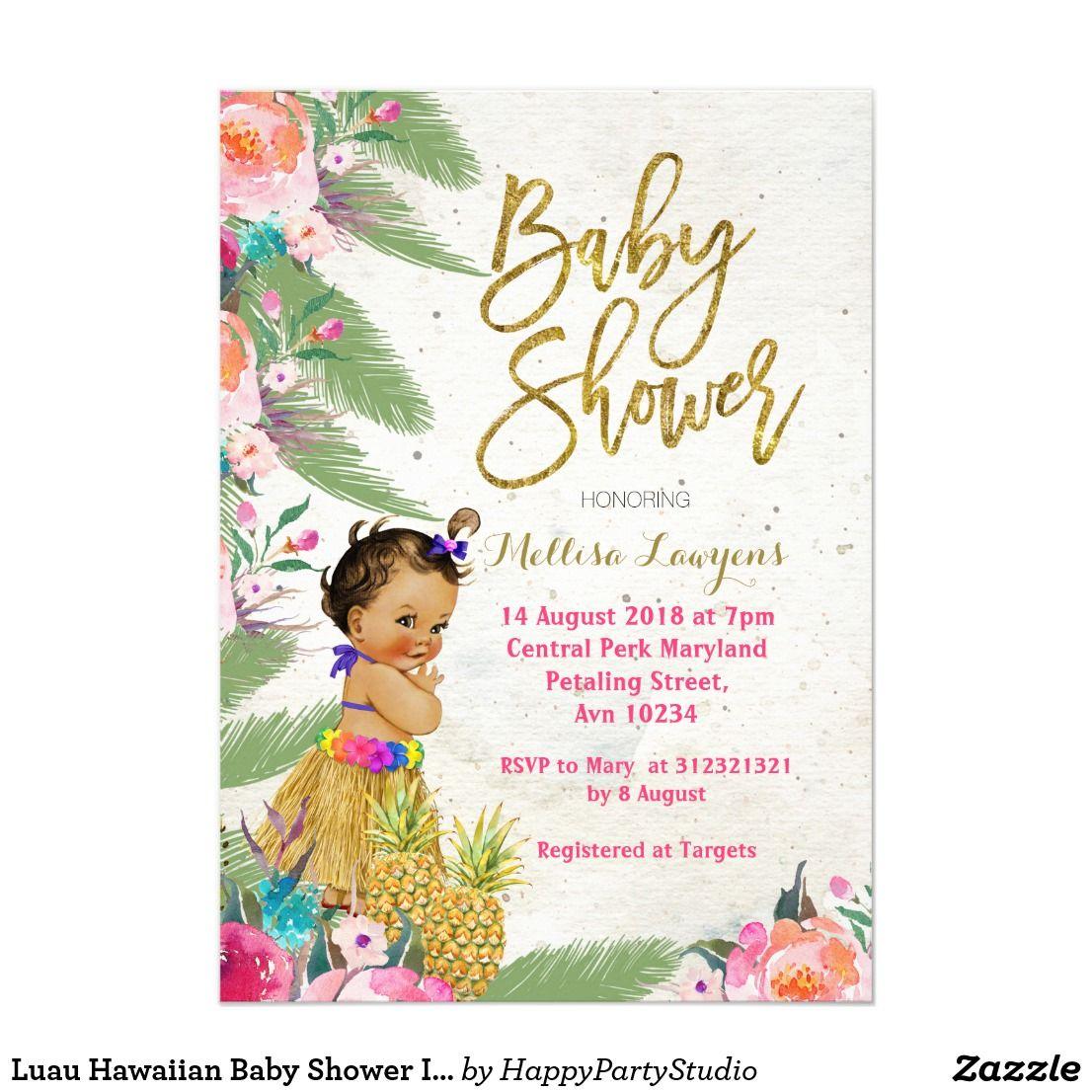 Luau Hawaiian Baby Shower Invitation | Baby Shower Invitations,Birth ...