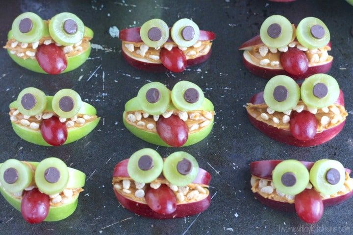 these silly nut free apple monsters will be sure to make your kiddos giggle youll love how nutritious they are perfect for halloween class parties