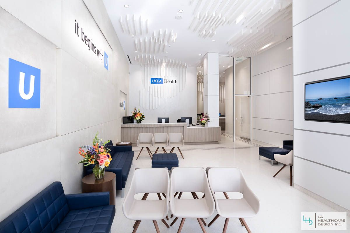 Primary care center lobby and reception area. UCLA Health Center Interior Design Project - Century City CA. & Primary care center lobby and reception area. UCLA Health Center ...