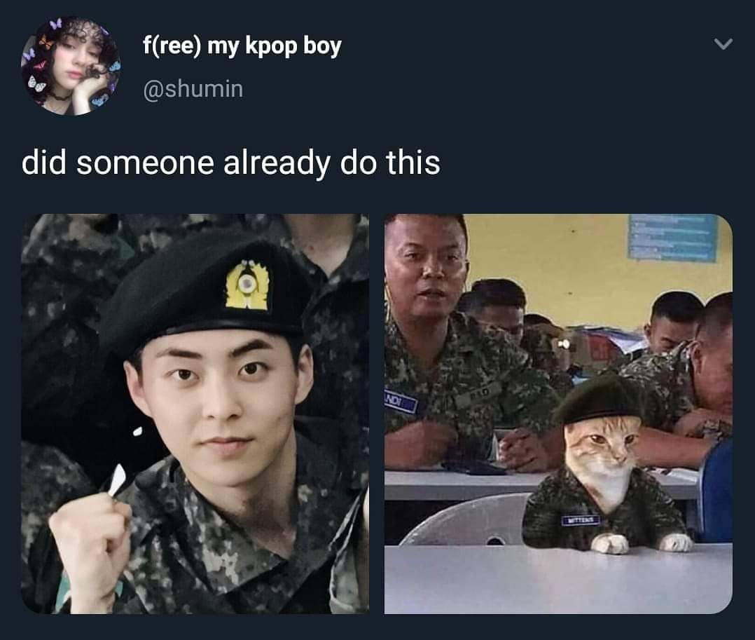 Hope He S Doing Well In The Military I Miss Him So Much Grrr Exo Jokes Exo Memes Funny Exo Memes