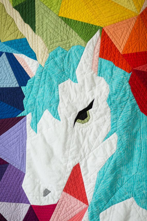 Maybe The Unicorn Paper Piecing Quilt Pattern Geometric