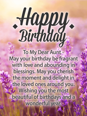 Pretty Lavender Happy Birthday Card For Aunt A Field Of Inspires Warm Messages Dear On This Special Greeting