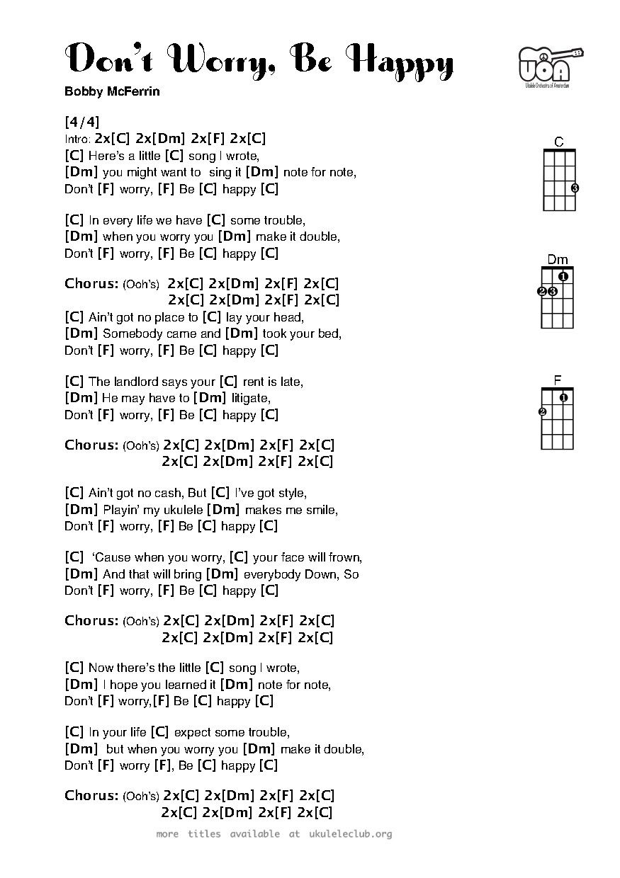 Dont Worry Be Happy For Ukulele Super Easy Beginner Piece With