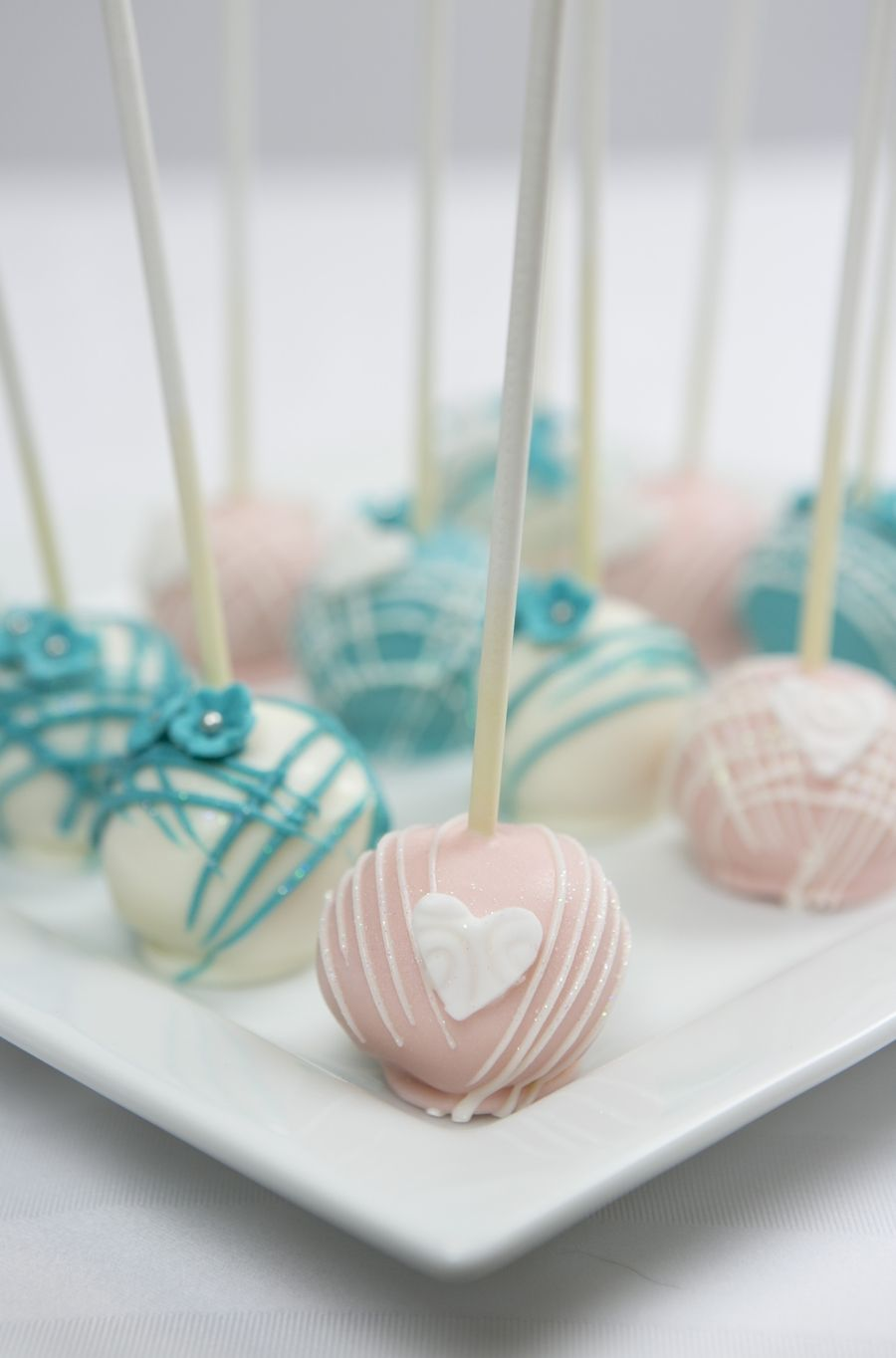 Teal and pink wedding cake pops first birthday pinterest