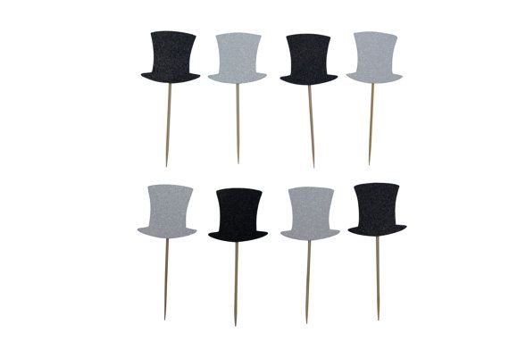 Top Hat and/or Bow Tie Cake Toppers! Black and White Sophisticated Party Theme!!