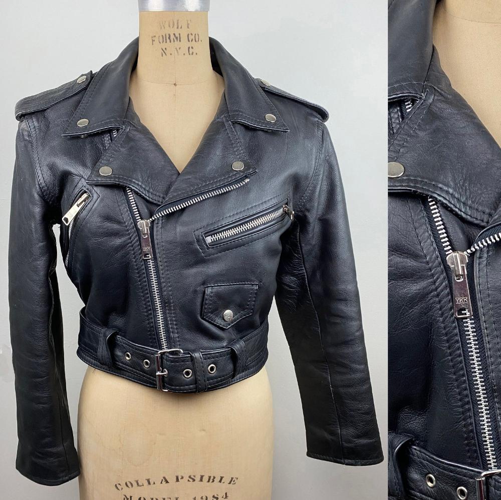 Vintage Umr Black Cropped Motorcycle Moto Leather Jacket Small Etsy Black Leather Moto Jacket Leather Jacket Black Crop