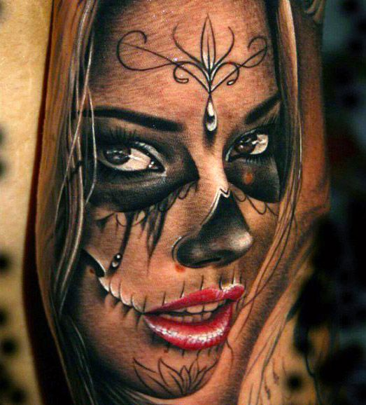Tattooties Presents You The Best Top 10 Realistic Girl Tattoos Made By The Best Tattoo Artists Realistic Tattoos Are Di Skull Girl Tattoo Girl Tattoos Tattoos