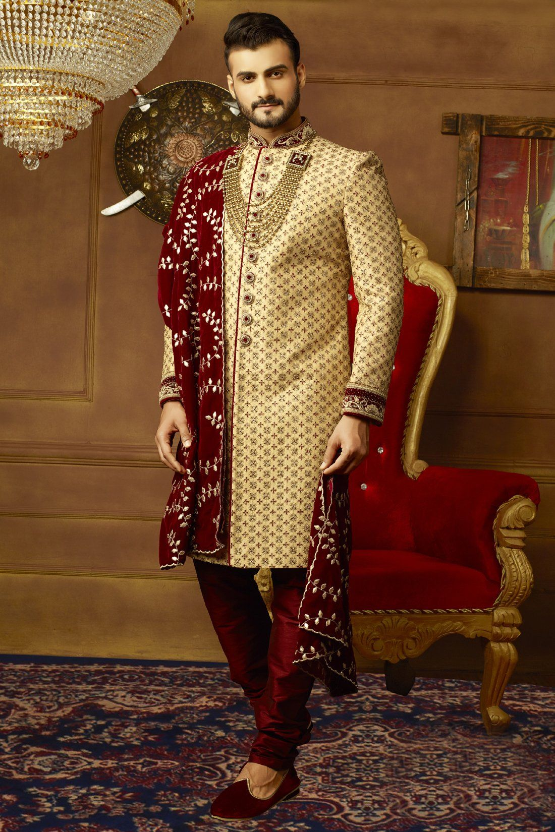 5939a5f30d Gold and Maroon Mens Sherwani Mens Sherwani, Wedding Sherwani, Wedding Men,  Wedding Suits