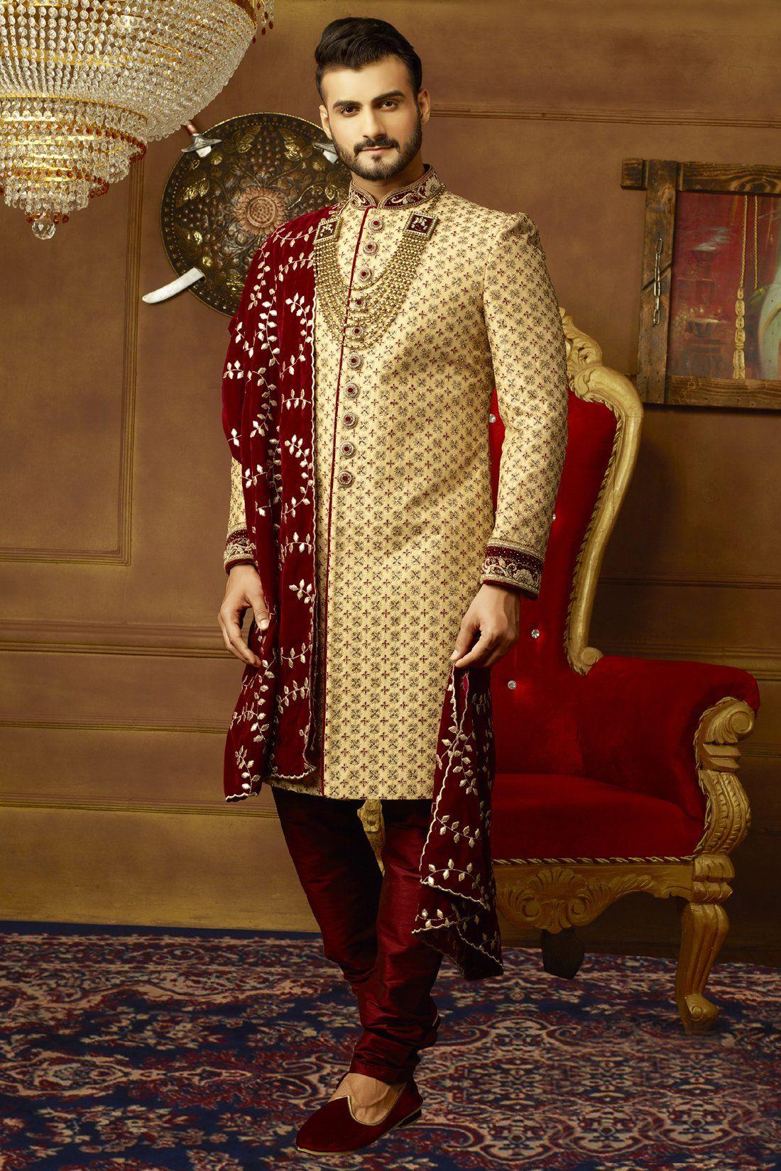 Gold And Maroon Mens Sherwani Sherwani For Men Wedding Mens Sherwani Wedding Dresses Men Indian