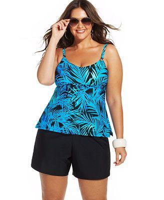 6128881f5cd33 Island Escape Plus Size Printed Tankini Top & Swim Shorts | Clothes ...