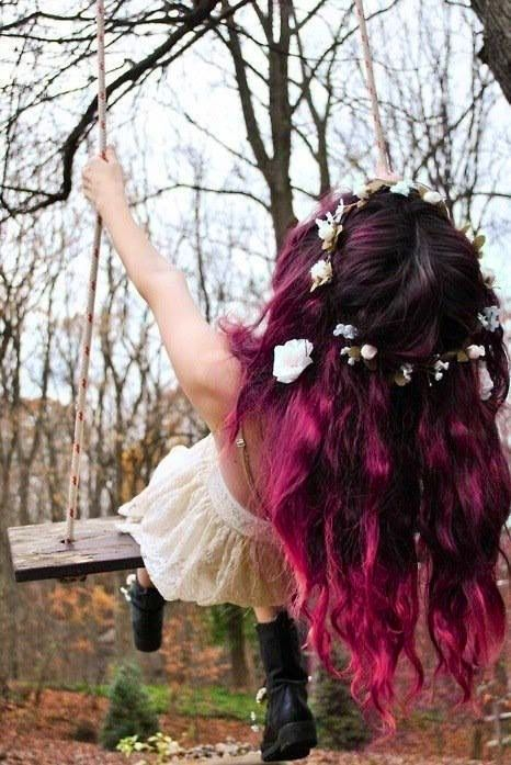 Dark pink ombre hair with floral crown  Would the parents go for temporary purple hair?