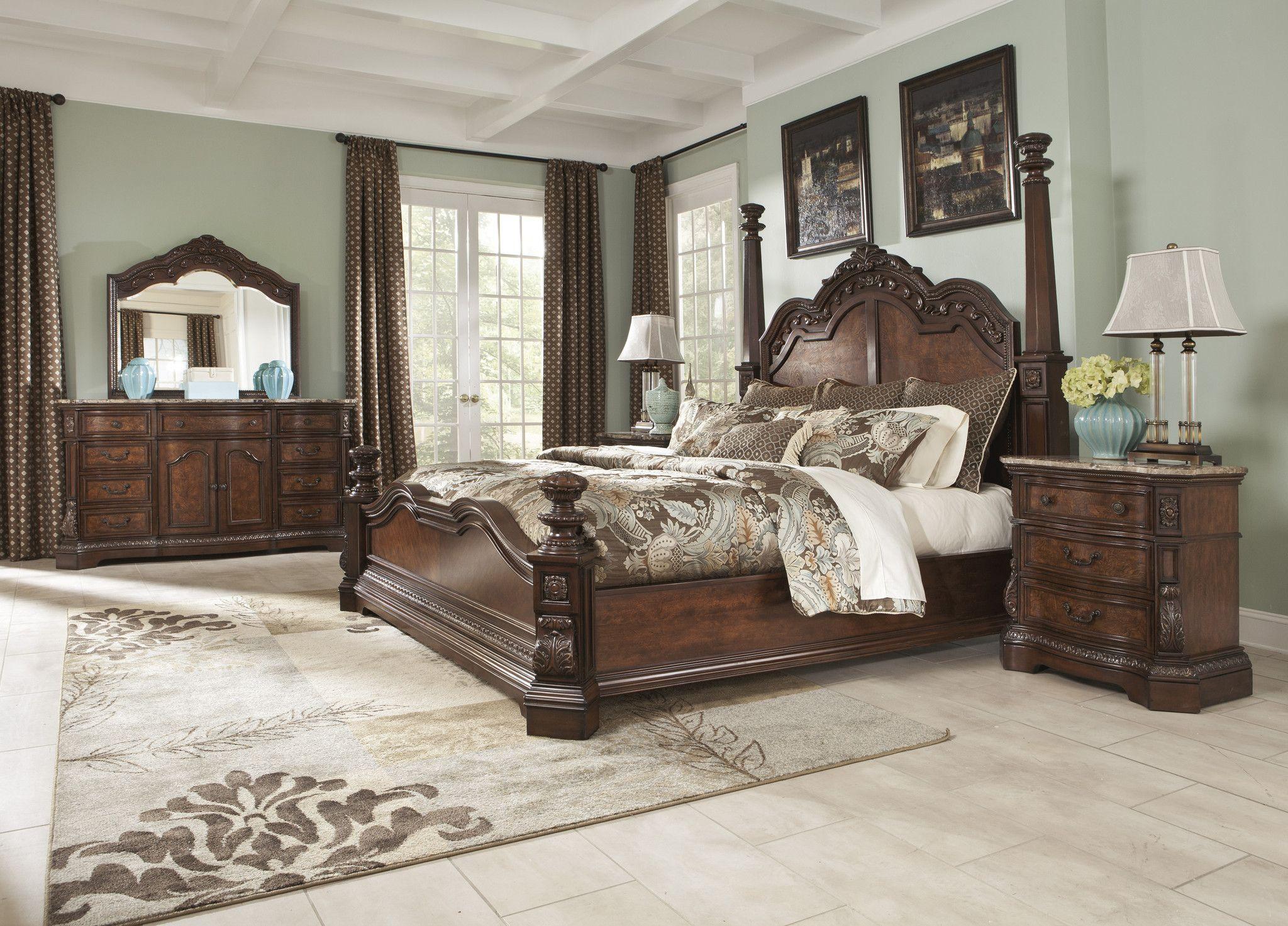 MAYBE A BLUEISH WALL PAINT WITH DARK CURTAINS? Queen 5pc Bedroom Set - Old World Style - Dark Cherry Stain Finish