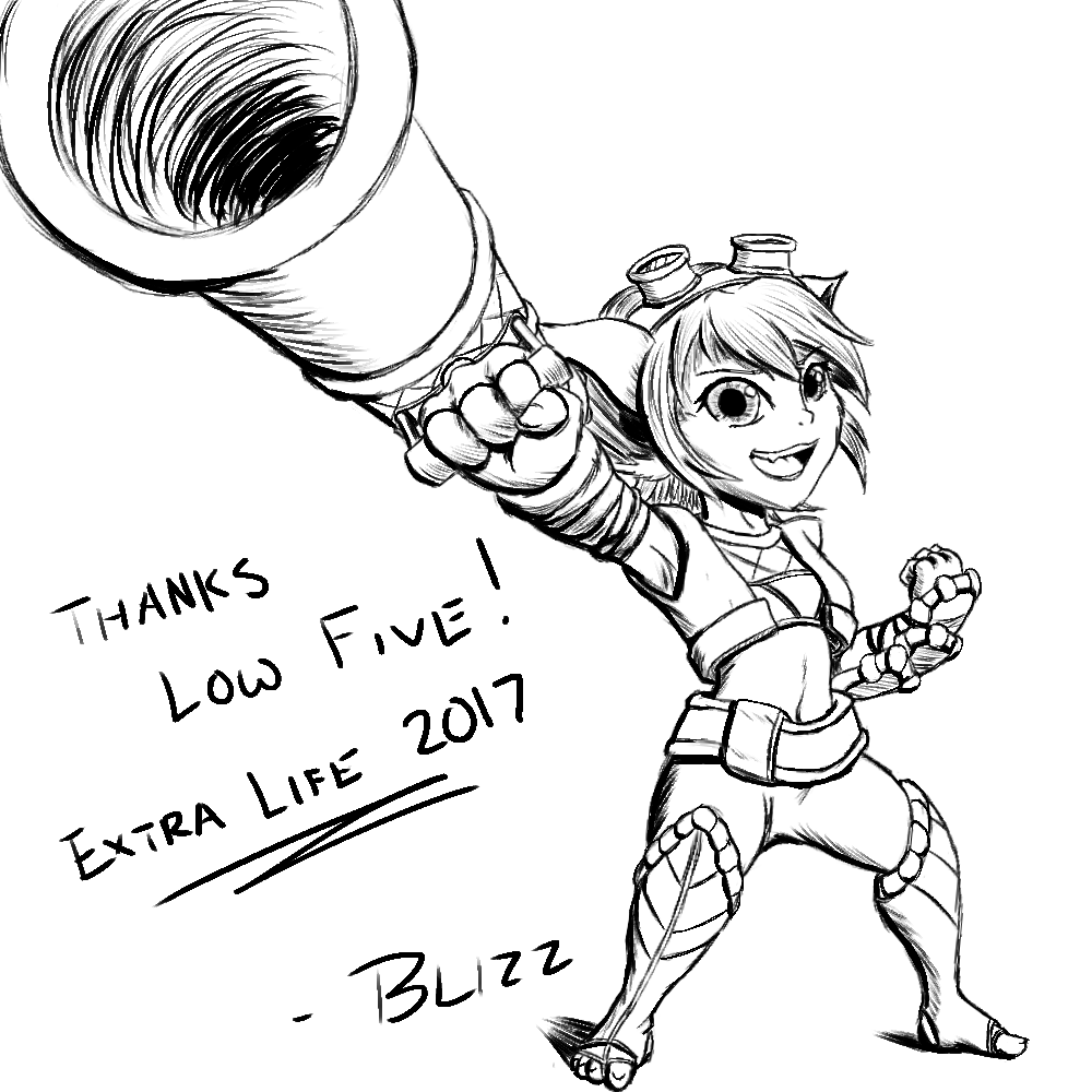 Tristana Sketch Extra Life 2017 By Blizzmaster League Of Legends Life Male Sketch