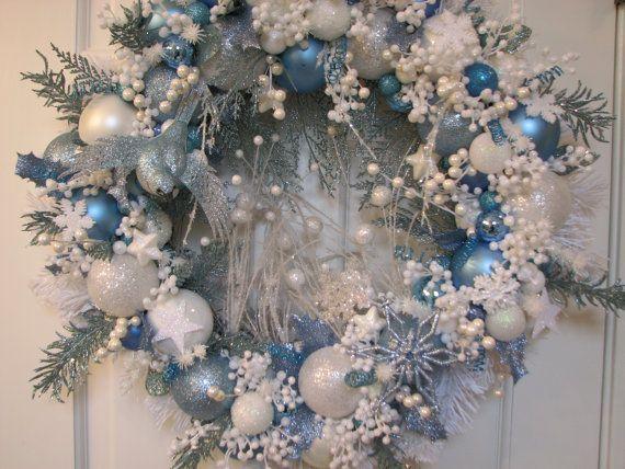 Light Blue And White Heirloom Christmas Wreath Ornament Wreath Christmas Wreaths White Christmas Wreath Blue Christmas Decor