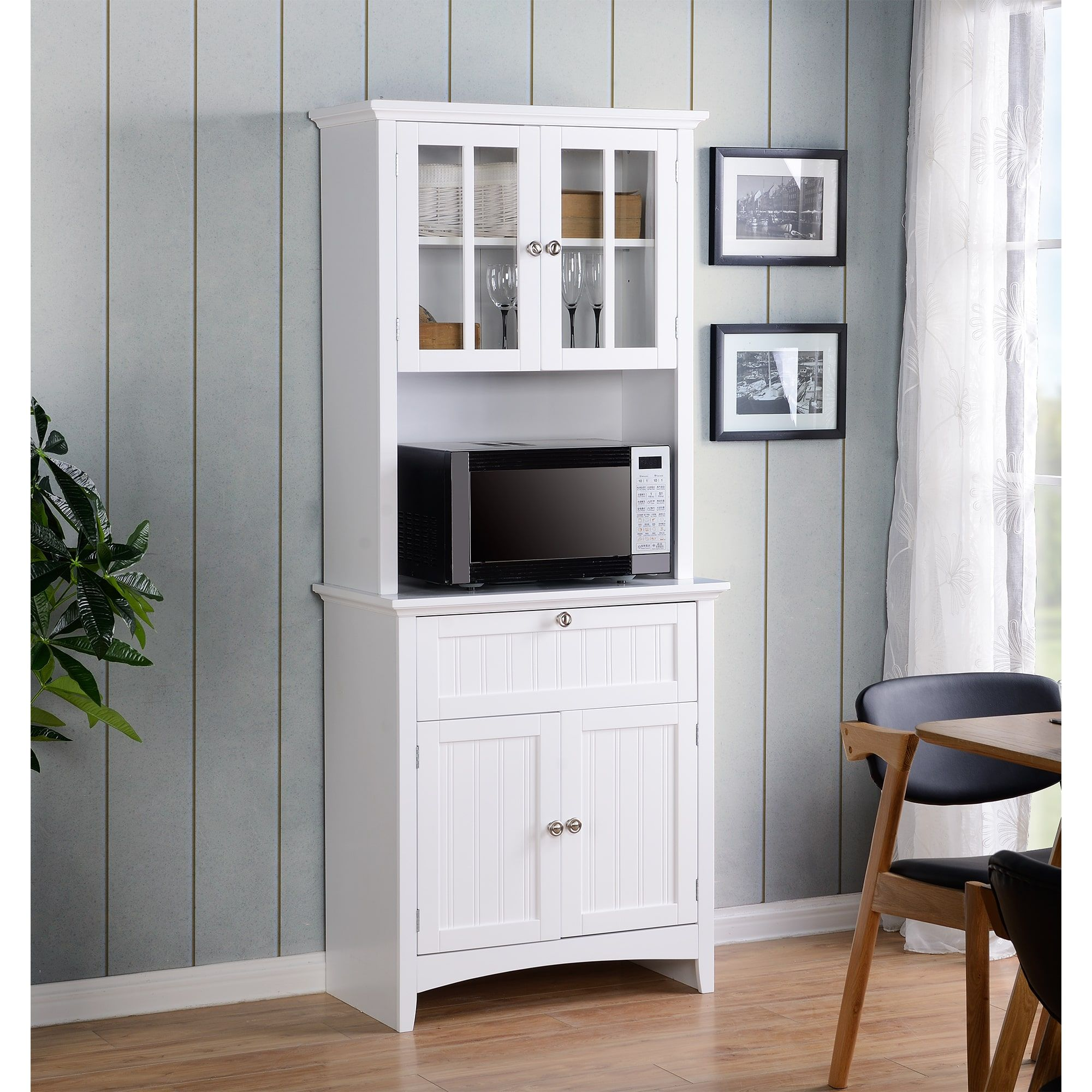 OS Home and fice Buffet and Hutch with Framed Glass Doors and
