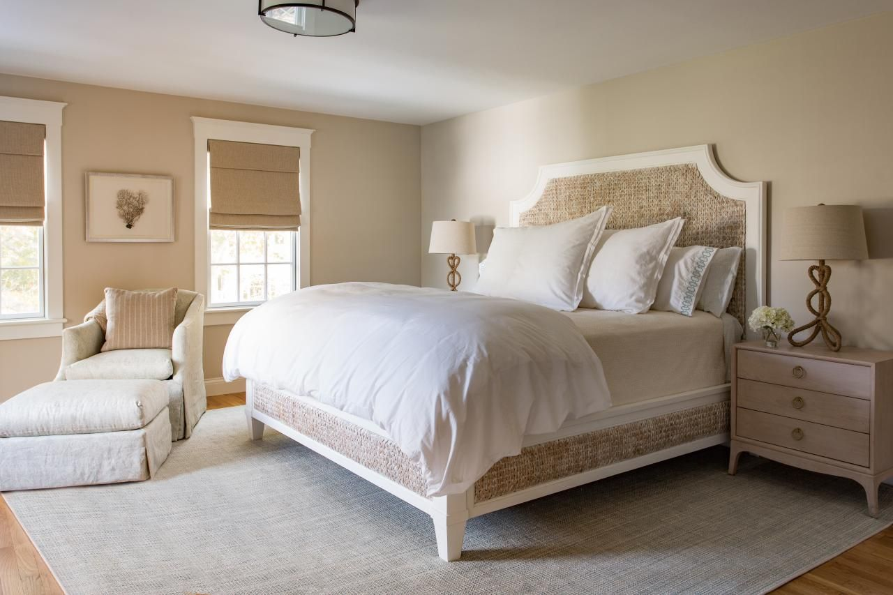 Neutral Coastal Bedroom With Seagrass Bed Frame Taupe Tones