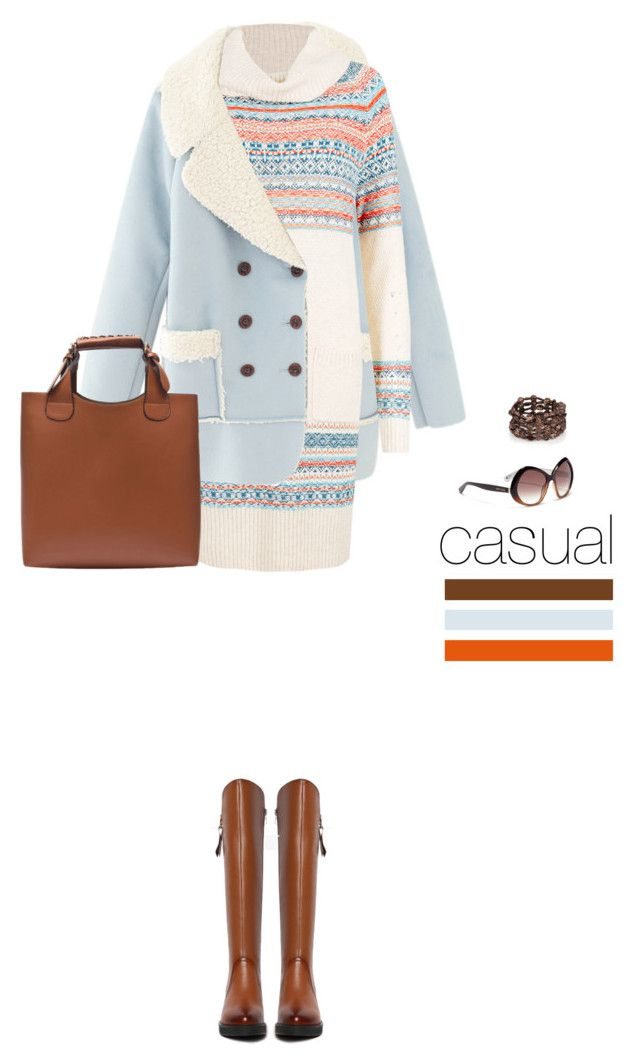 Casual outfit: Brown - Light Blue by downtownblues on Polyvore