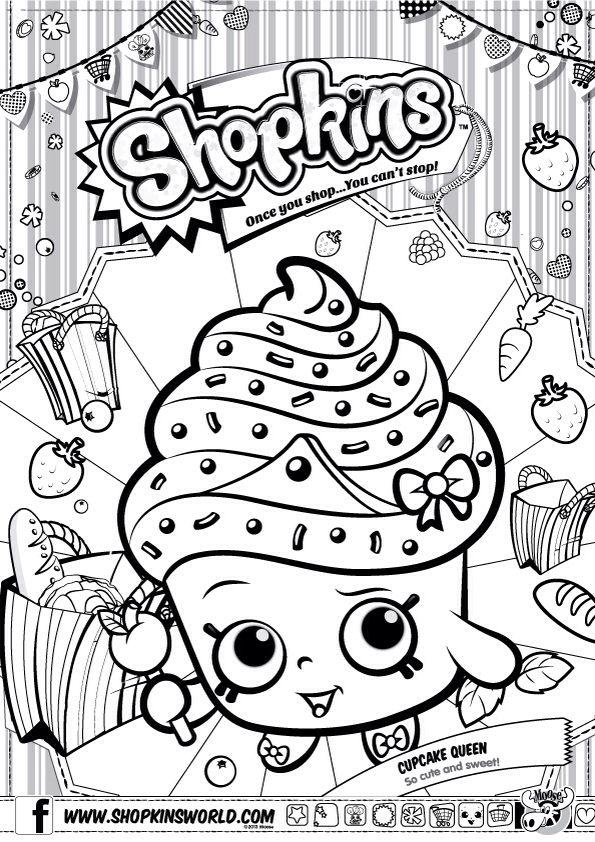 Shopkins Colour Color Page Cupcake Queen Shopkinsworld Shopkins