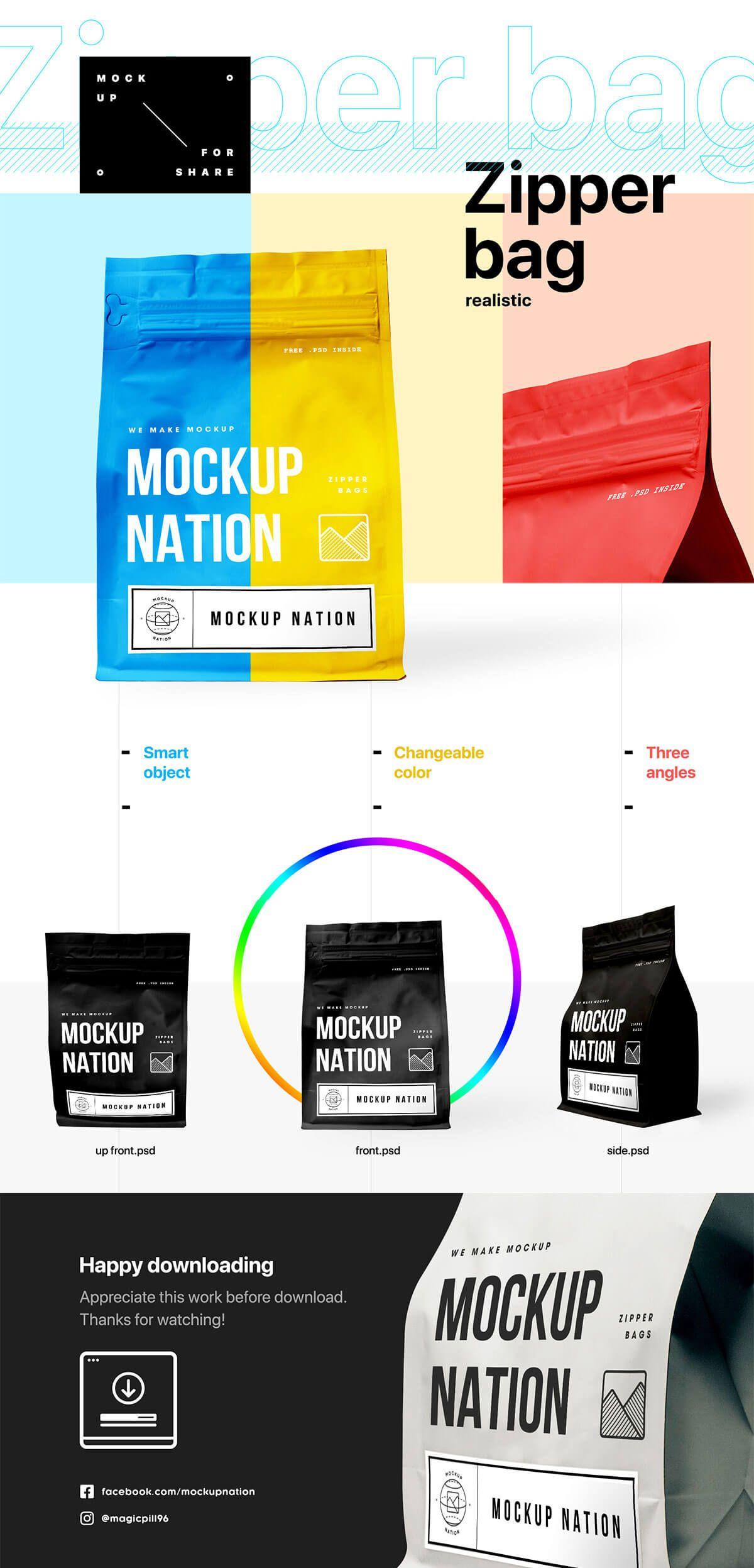 Download Free Zipper Bag Mockup Bag Mockup Business Card Mock Up Brochure Psd